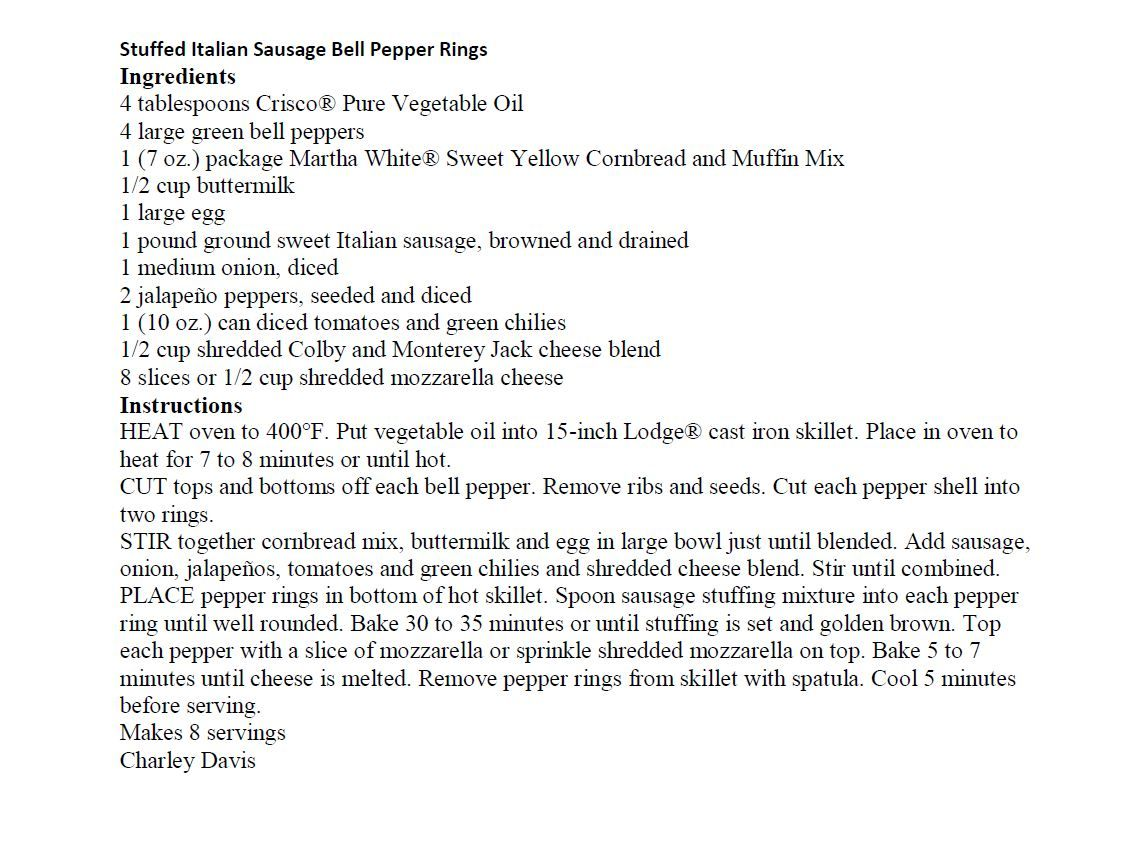 Jim Bob and Mae Recipe of the Day   Stuffed Italian Sausage Bell Pepper Rings - Charley Davis   http://www.dailyrecipedoctor.com