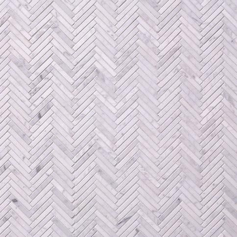 Backsplash fosso small herringbone nemo map for Small bathroom herringbone tile