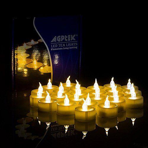 AGPtek 100 Battery Operated LED Amber Flameless Flickerin