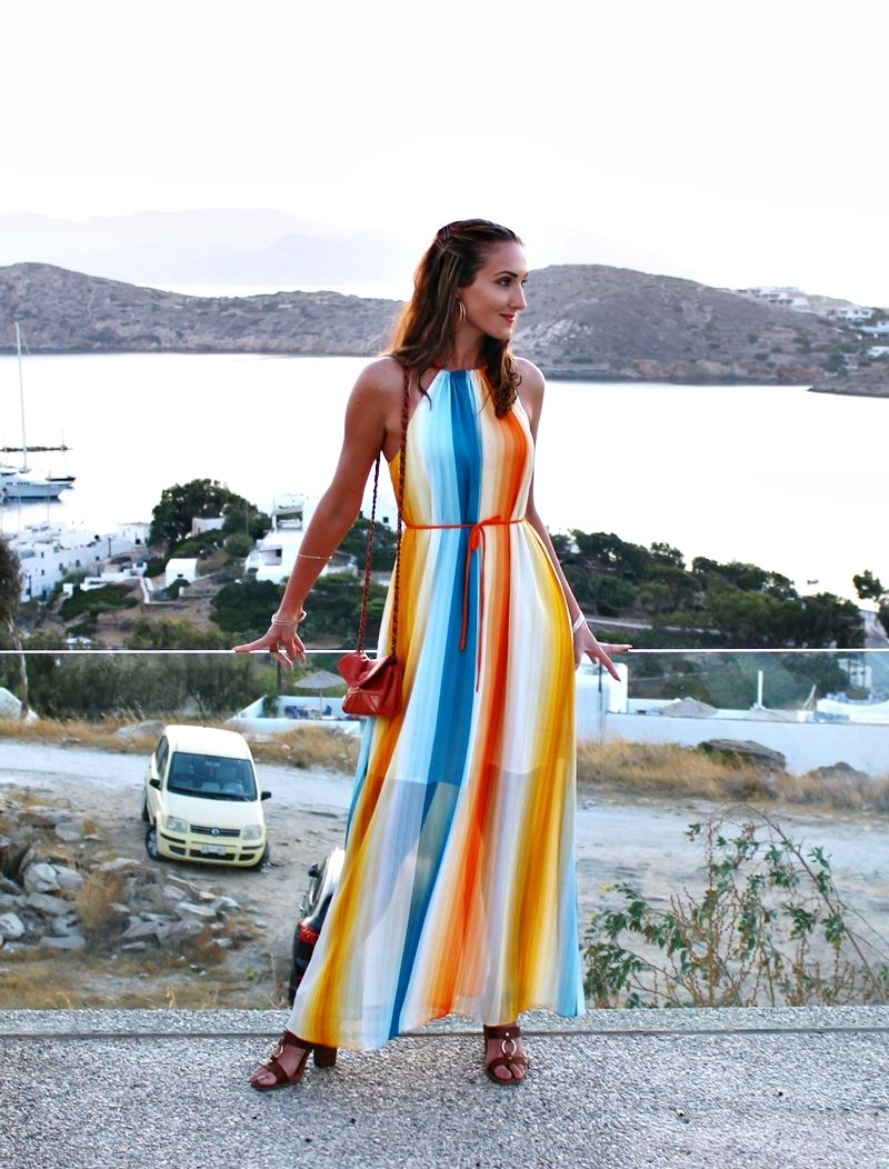b9a3a789acc Vacation outfit  Multicolored striped maxi dress