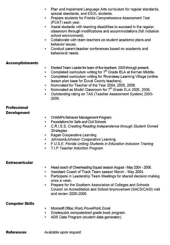 Sample Teacher Resume  Middle School    Teacher