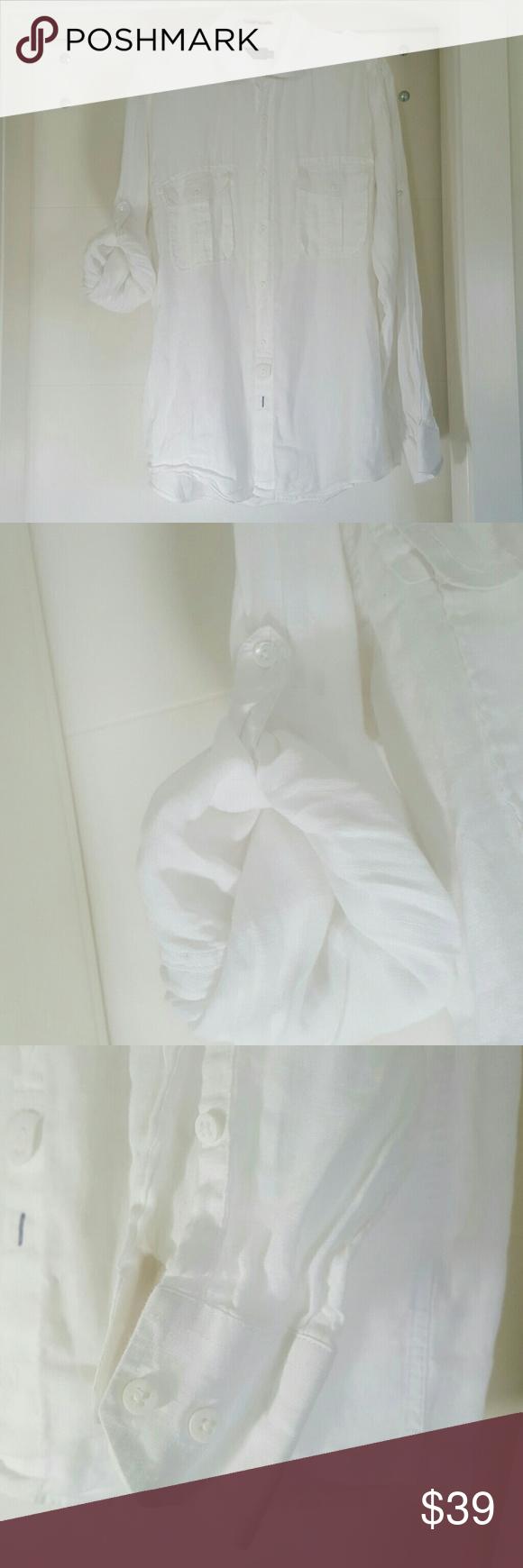 Bugatchi Uomo shirt 100% linen  44 bust  26 sleeve  33.5 length Bugatchi Tops