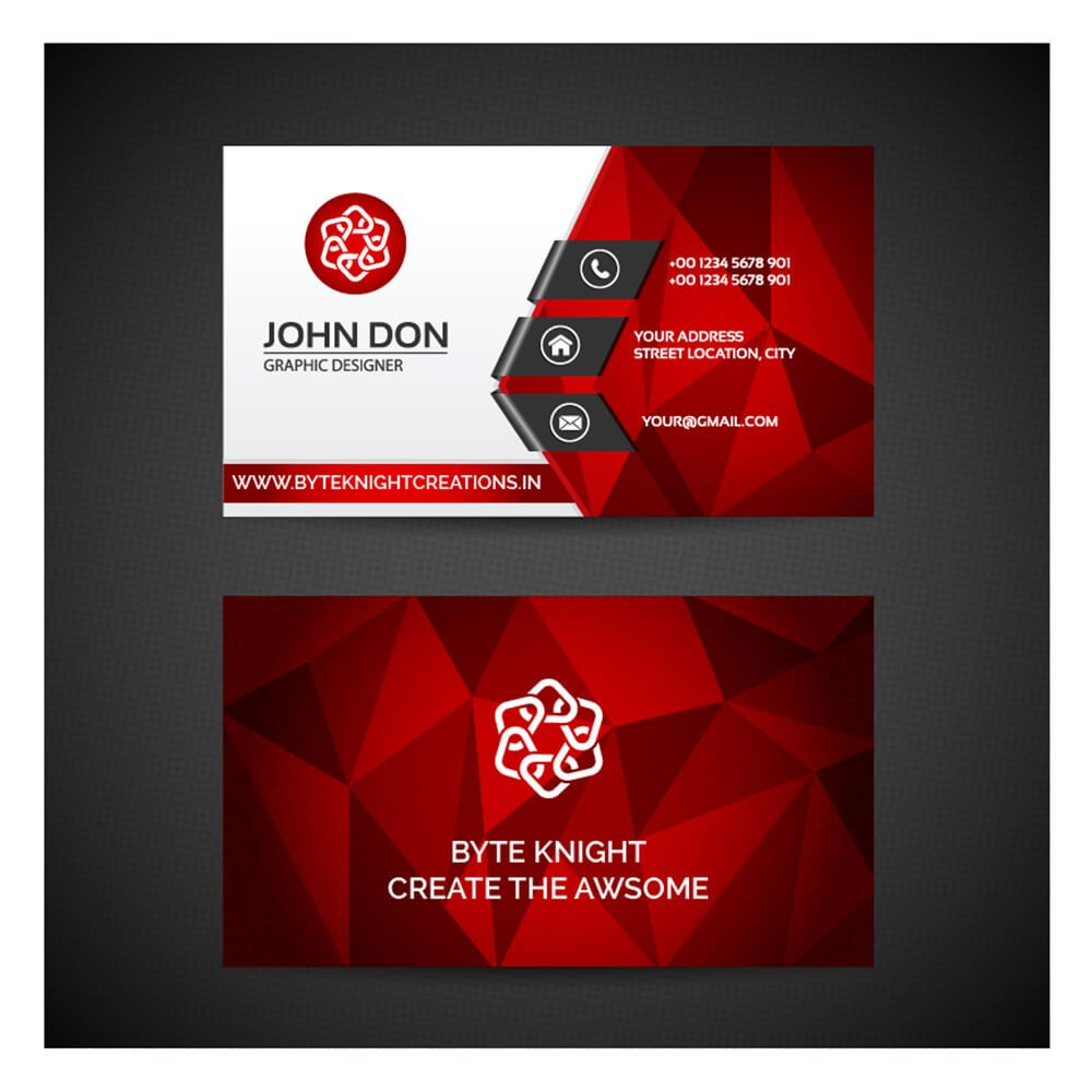 Red Polygonal Business Card Vc128 Business Cards Vector Templates Free Vector Business Cards Free Business Card Templates
