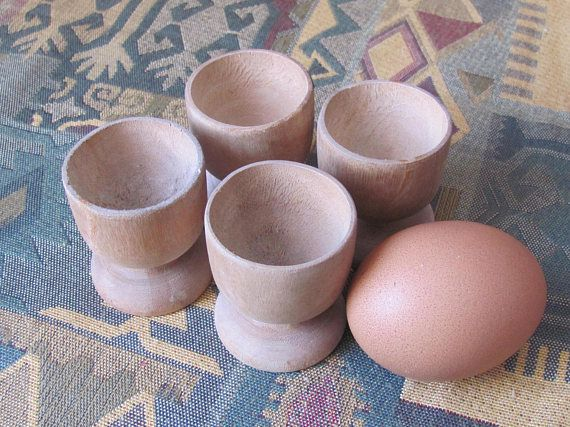 Set Of 4 Vintage Wooden Cups H2 Small Wooden Cups Egg Cups