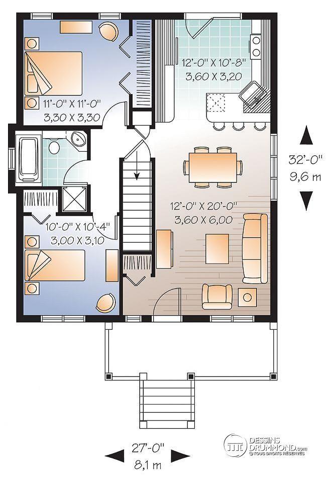 W3115 - Bungalow économique champêtre, 2 chambres, cuisine avec îlot - plan maison m chambres