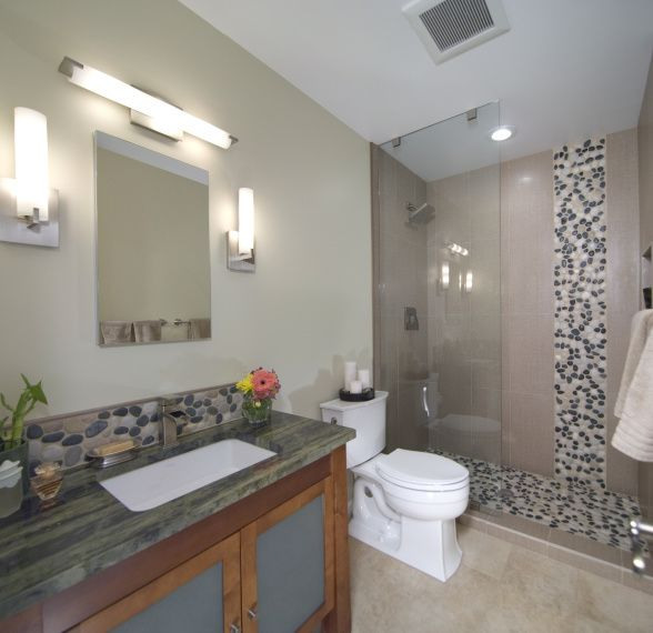 Asian Inspired River Rock Bathroom Remodel, This Is An Asian Inspired  Bathroom Remodel