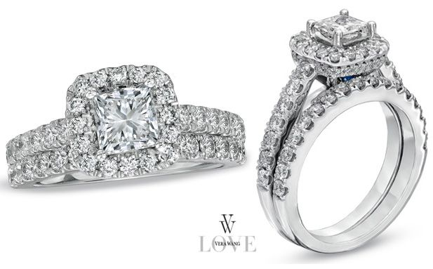 Merveilleux Princess Cut Engagement Rings From The Vera Wang LOVE Collection (A  Collection Of Diamond Engagement Rings And Wedding Bands Exclusively At  Zales).