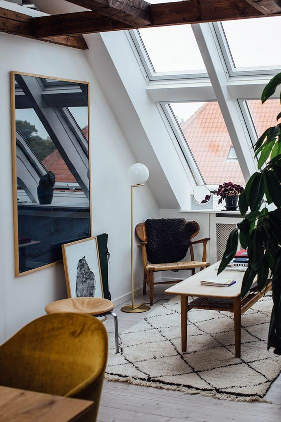 mid century modern office with woven rug and skylights #homedecor #homeoffice #style #interiordesign