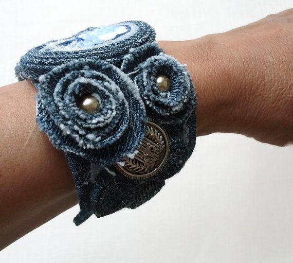 Blu Denim Jean & pizzo bracciale di polsino Bracciale-Denim