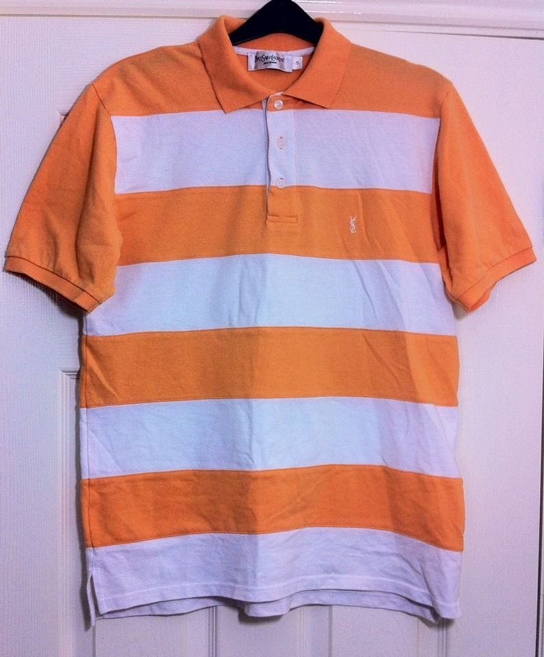 New - Mens YVES SAINT LAURENT Designer Orange   White Striped Polo ...