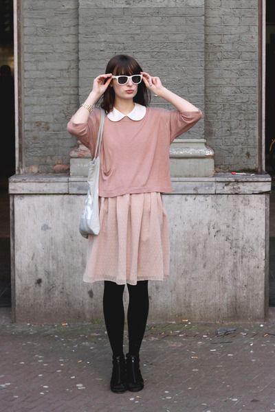 2ae03311f6b Black-h-m-shoes-light-pink-river-island-dress-pink-h-m-sweater-light-blue-