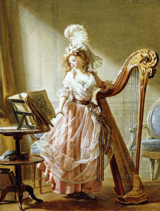 The Music Lesson (1788).Michel Garnier (French, 1753-1819). Oil on canvas. Garnier's delicate and highly polished painting style was particularly suited for depicting the elegant lifestyle of fashionable Parisians. The artist's detailed attention to the lady's dress, the harp, the music book, and the decor accurately conveys the richness of the era.