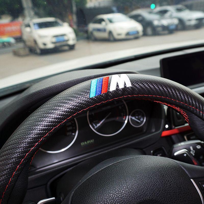 M Power M Carbon Fiber Sport Car Steering Wheel Cover Size M 38cm For Bmw X1 X3 X5 X6 E36 E39 E Car Steering Wheel Cover Steering Wheel Cover Steering Wheel