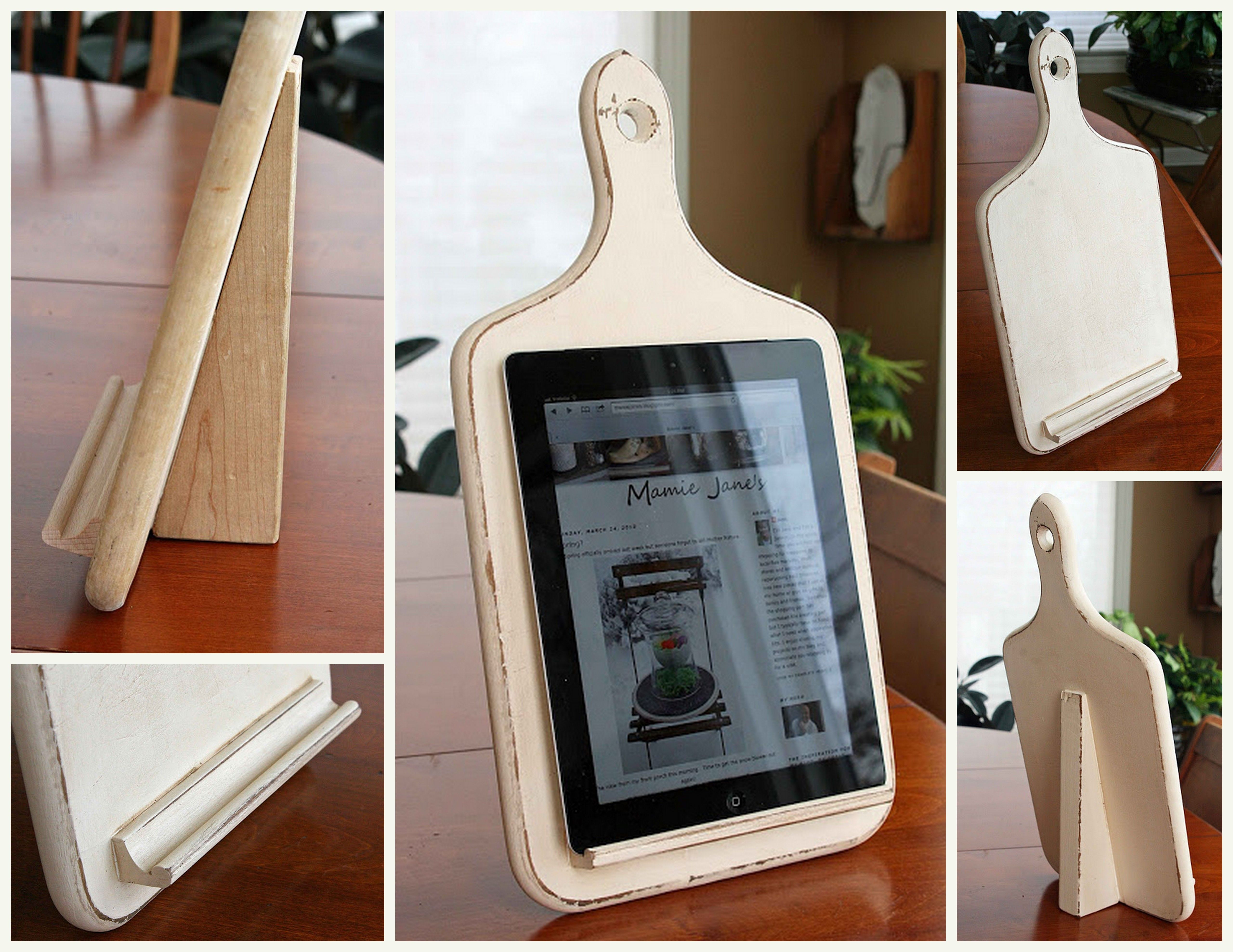 DIY Kitchen Ipad Holder. Made From A Toy Building Block, An Old Cutting  Board