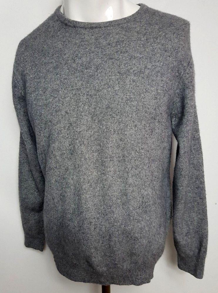 Marks Spencer 100 Cashmere Mens Jumper Sweater L Grey Fashion