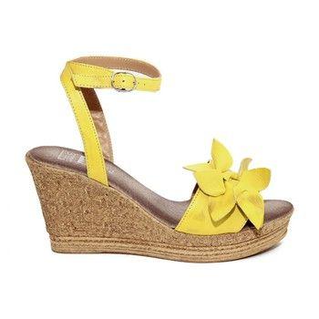 99b27c276a7a39 Sandales compensées en cuir - jaune - Julie Julie - Ref: 1640377 |  Brandalley