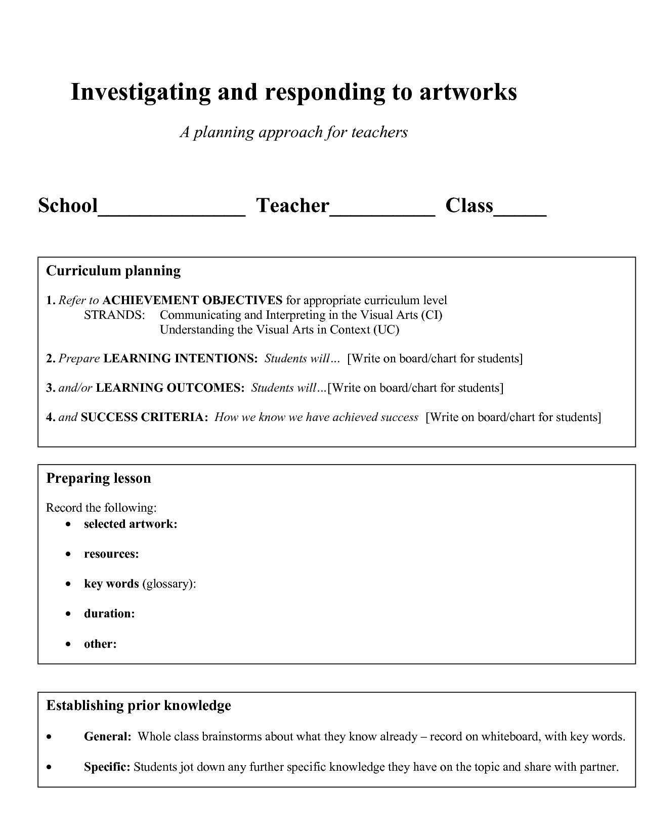20 Visual Arts Lesson Plan Template In