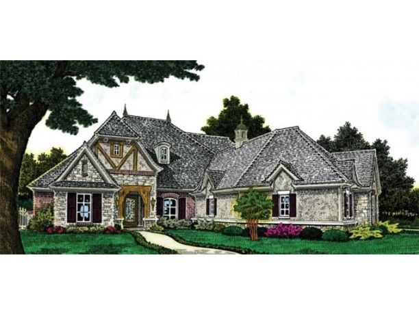 European French Country Ranch Traditional 2043 Sq Ft Neat Layout