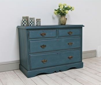 Distressed Edwardian Blue Chest Of Drawers