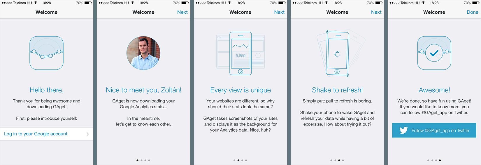 GAget Intro screens