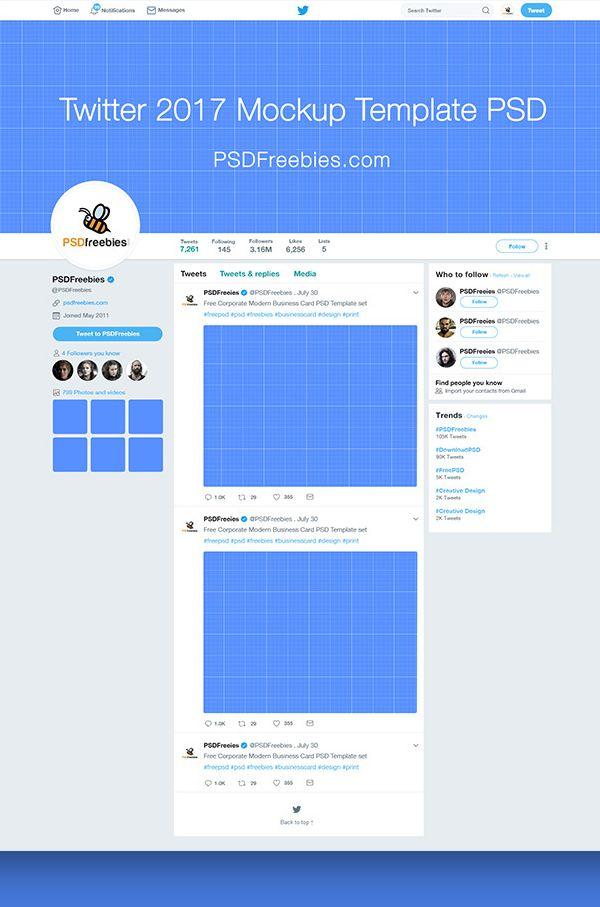Free Twitter Page Mockup 2017 Template PSD MOCKUPS Media