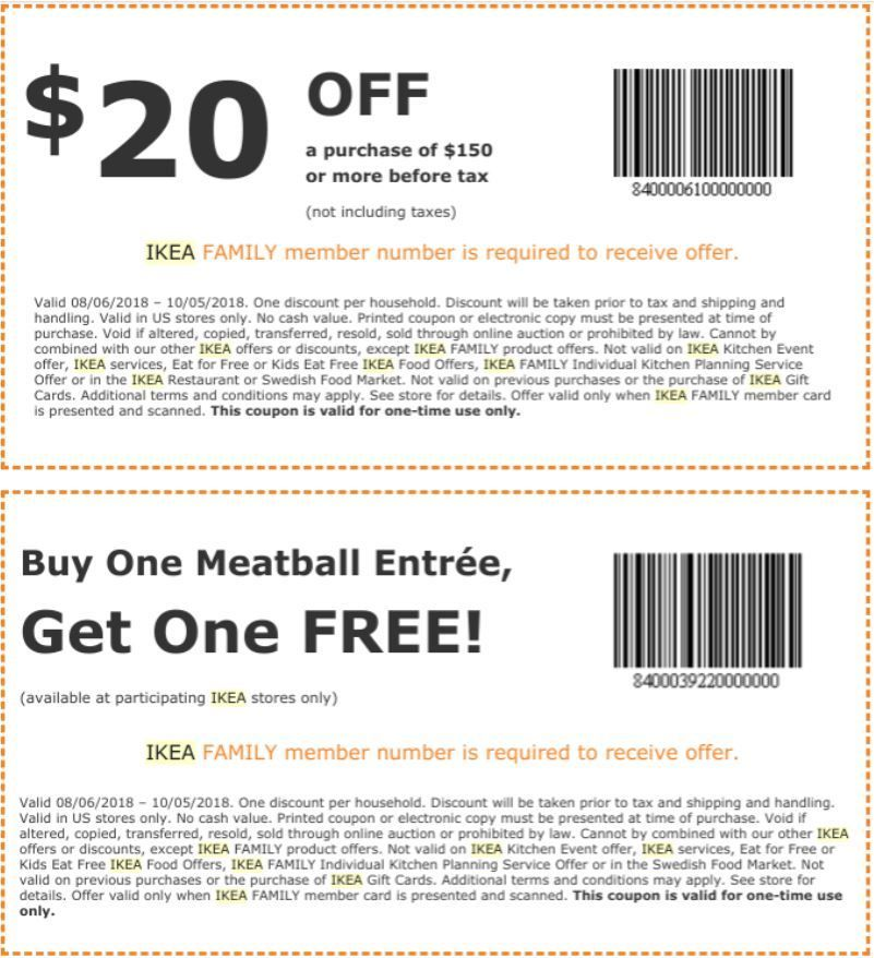 photo about Osh Coupons Printable referred to as IKEA Coupon: $20 Off $150+ BOGO Meatball Entree (IKEA