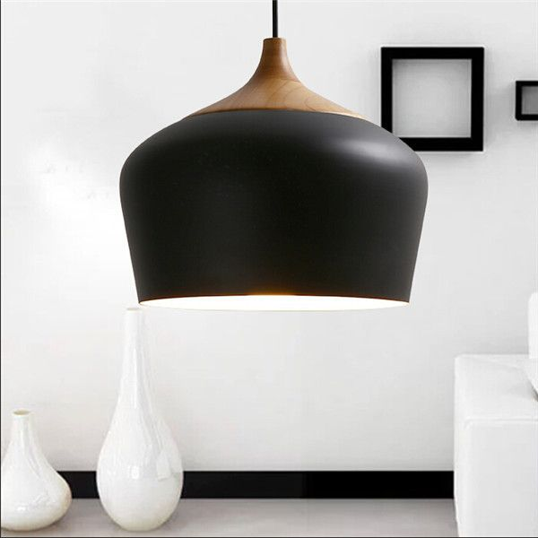 Modern pendant lights wood and aluminum pendant lamp black white modern pendant lights wood and aluminum pendant lamp black white kitchen hanging light fixture pendente mozeypictures Image collections