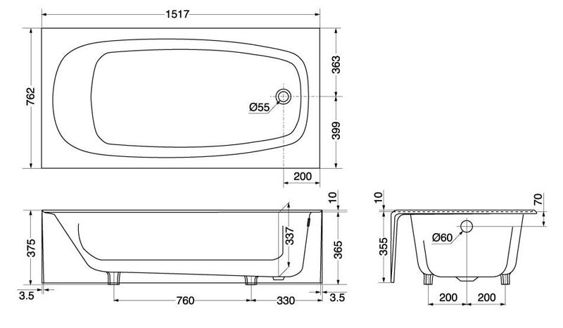 Bathtub dimensions google paie ka standard for Bathtub length