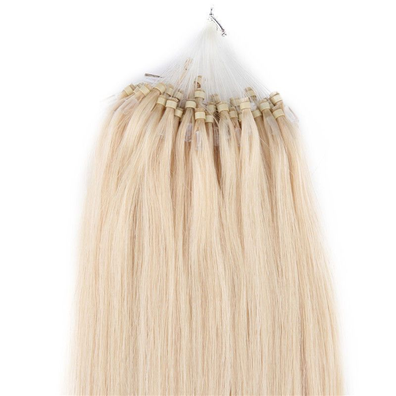 24 Loop Micro Ring Beads Tipped Remy Real Human Hair Extensions