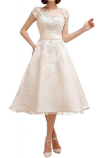 YASIOU Hochzeitskleid Standesamt Damen A Linie Kurz Tüll ...