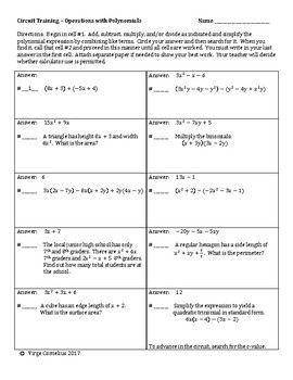 Circuit Training Operations With Polynomials Algebra With