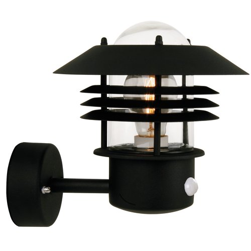 Nordlux Vejers 1 Light Outdoor Sconce With Motion Sensor Black Wall Lamps Outdoor Sconces Wall Lights