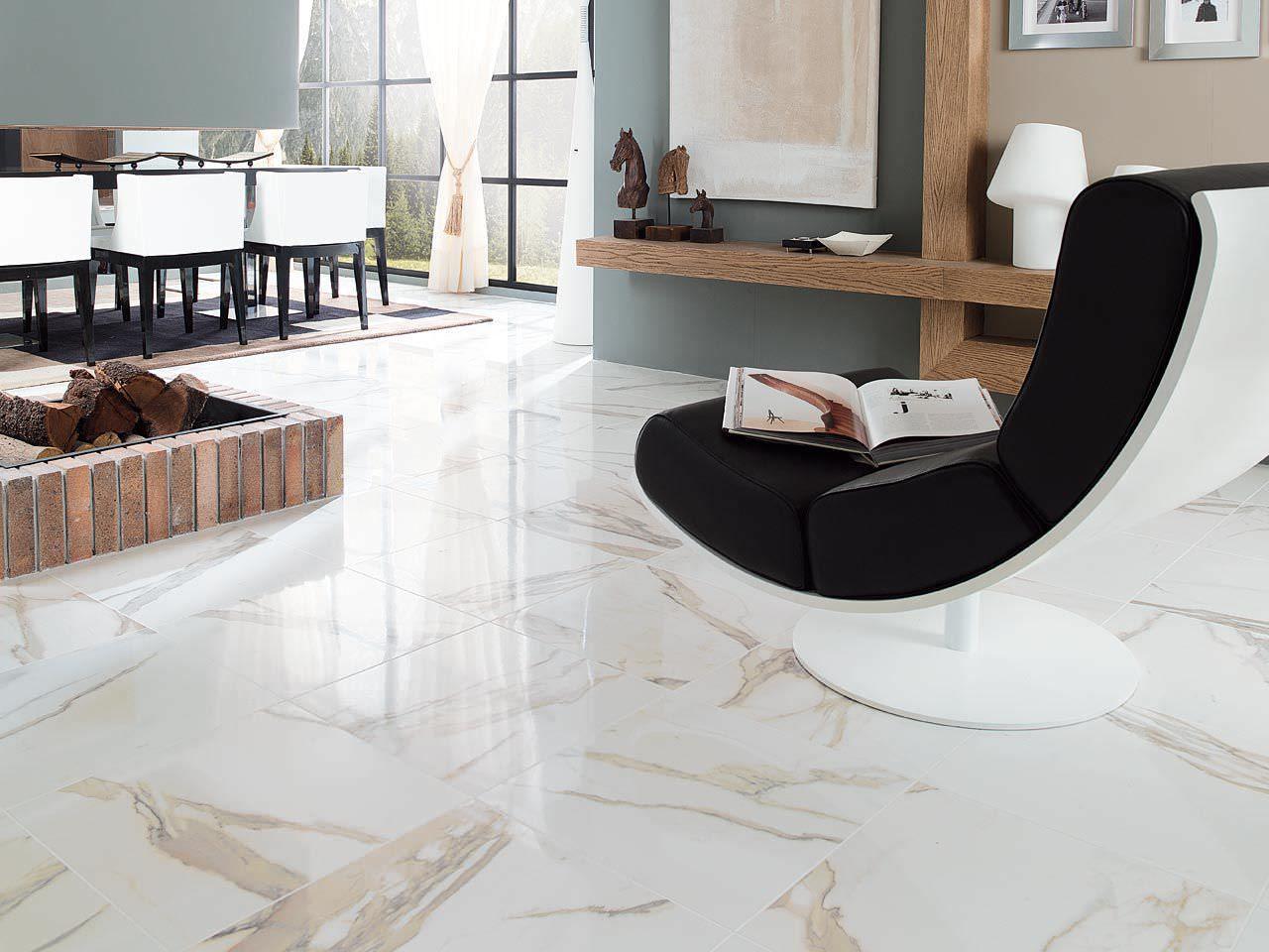 Baldosa de suelo de cer mica imitaci n m rmol calacata - Suelos imitacion marmol ...