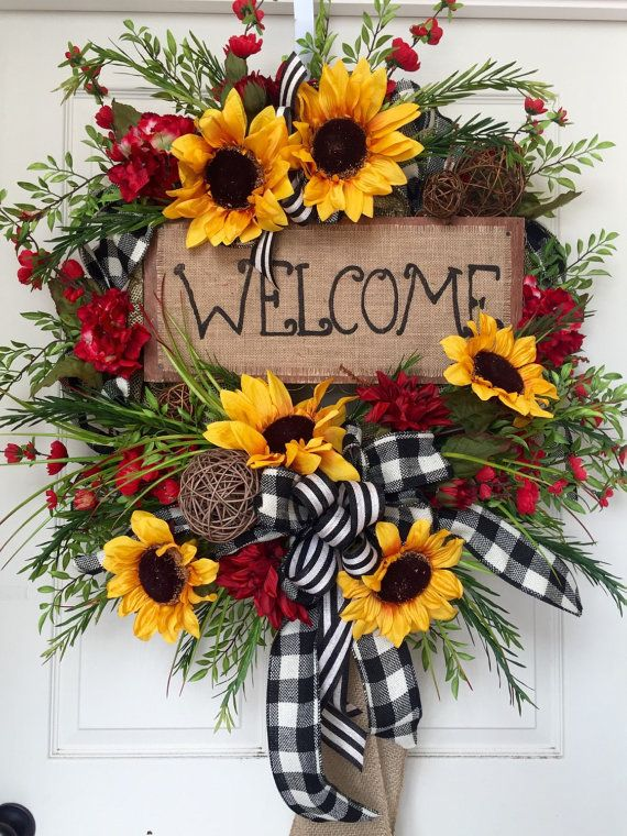 Summer or fall sunflower burlap mesh wreath by for How to make door wreaths for spring