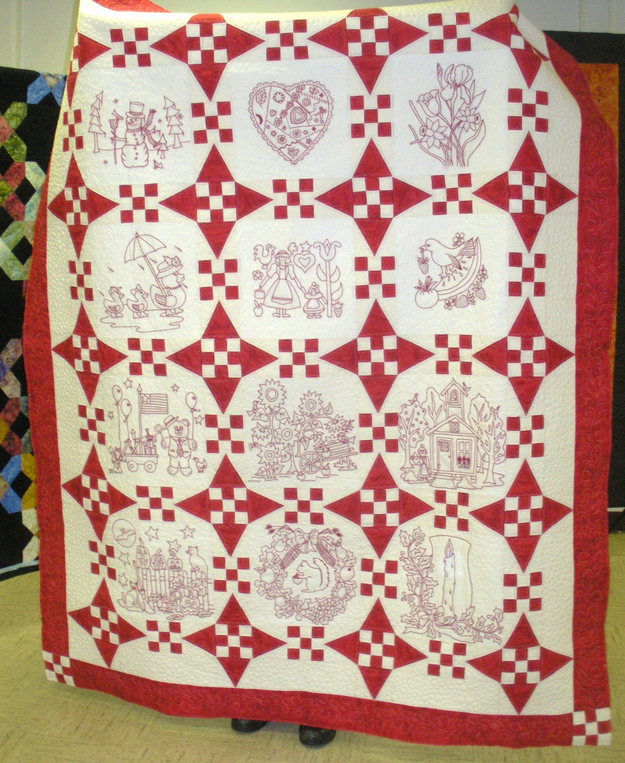 Joan S Redwork Calendar Quilt Quilted
