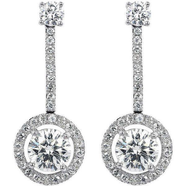 81343599f 1.85 Carat Diamond Drop Estate Earrings ($25,000) ❤ liked on Polyvore  featuring jewelry, earrings, multiple, diamond jewelry, tiffany co  jewellery, halo ...