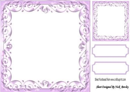 Lovely Lilac Scroll Frame, with Topper & Tags 8x8   Frame ...