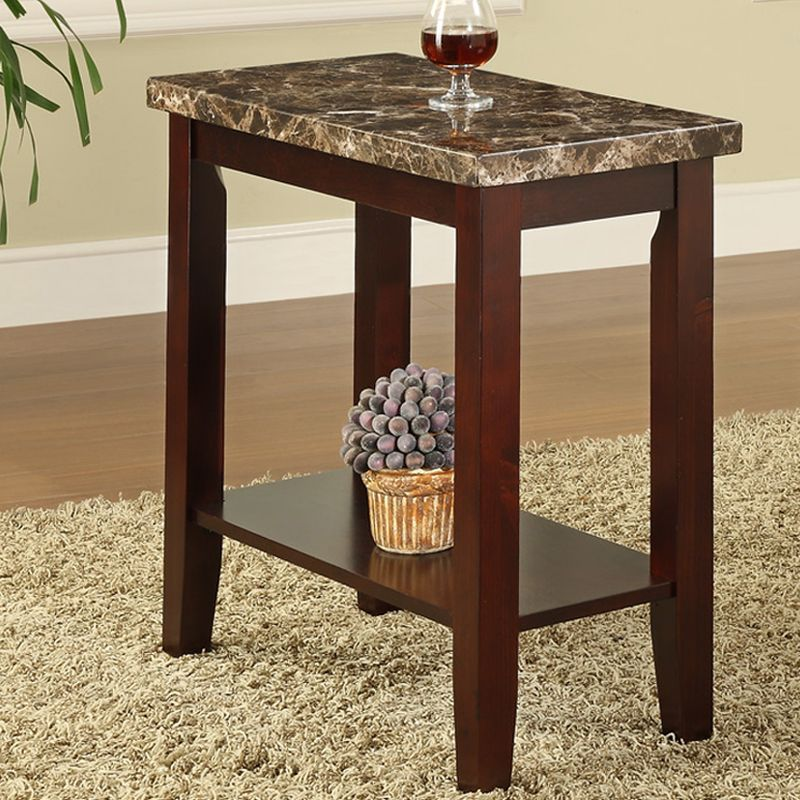 Modern Cherry Chairside Sofaside End Accent Table Faux Marble Top