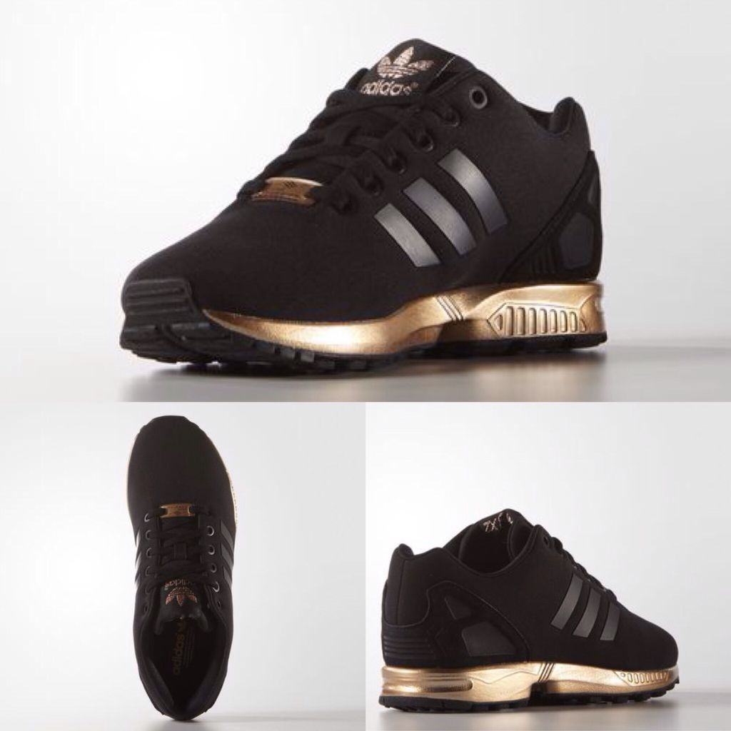 Adidas ZX flux woman black and gold | Sneaker | Shoes ...