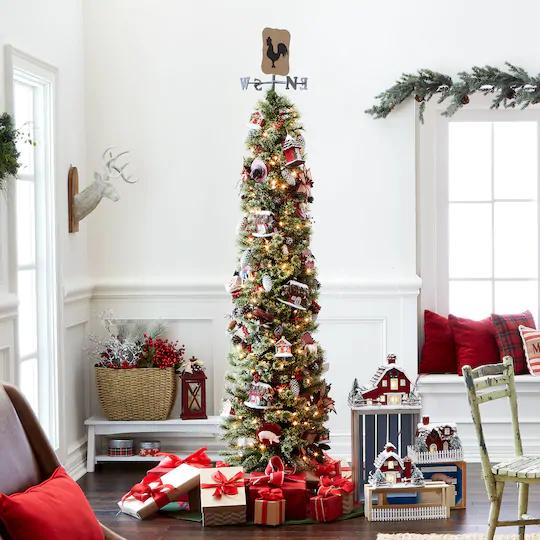 7ft Black Pre Lit Christmas Tree: 7Ft Pre-Lit Artificial Pencil Christmas Tree, Clear Lights