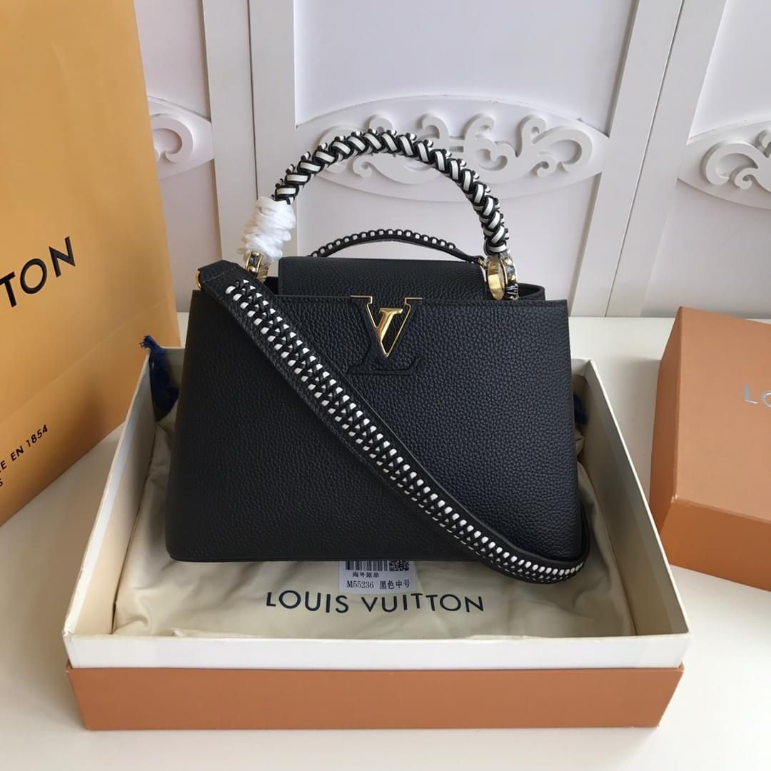 double size Louis Vuitton/LV capucines top-handle bag falp two-caompartment briefcase with woven leather shoulder strap and four sphere-shape studs at bottom