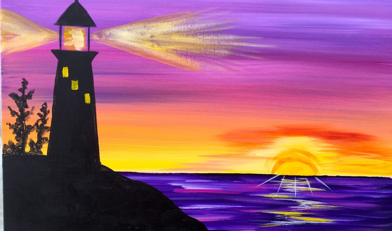 Sunrise Lighthouse Step By Step Acrylic Painting On Canvas For