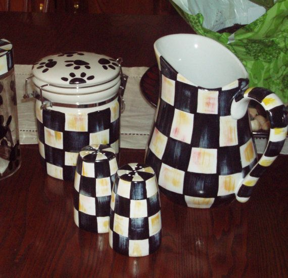 Hand Painted Black and White Checked Salt and by paintingbymichele