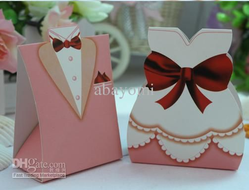 Wholesale Candy - Buy 200 Bride & 200 Groom Pink Evening Dress Wedding Favours Boxes / Guest Gifts / Table Decoration, $0.13 | DHgate