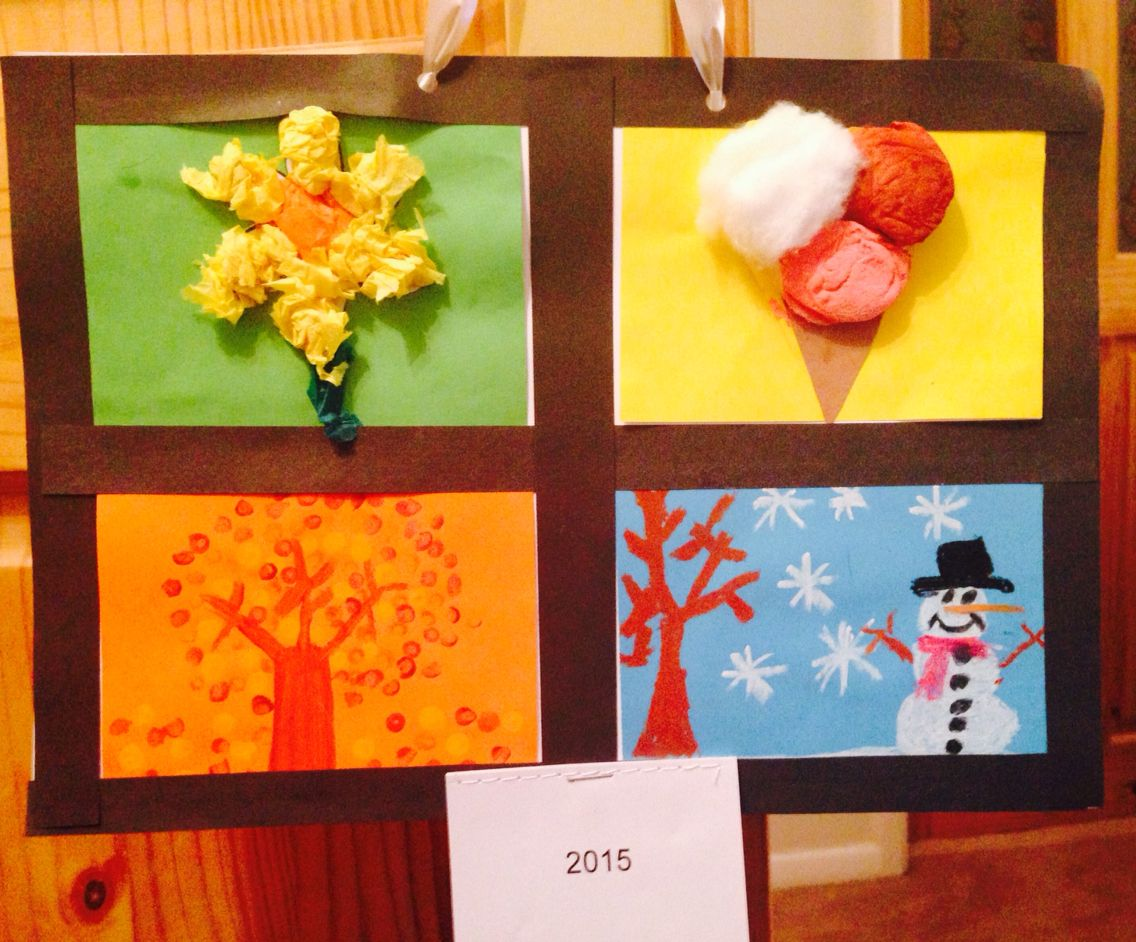 Calendar Ideas For Children To Make : Four seasons calendar christmas gift for parents tissue
