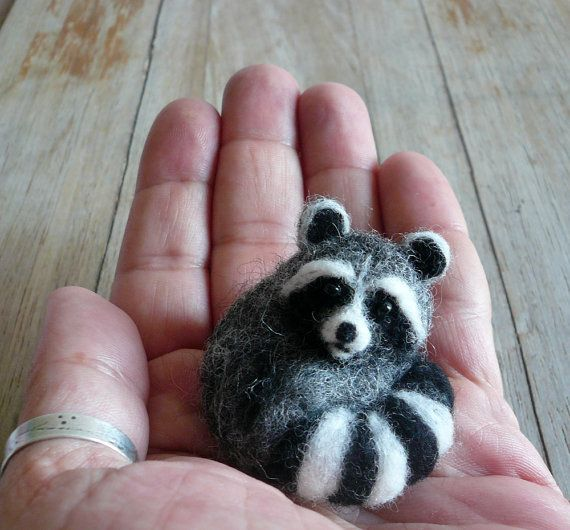 Sleeping Raccoon /Animal Sculpture Brooch /Needle Felted Raccoon brooch /Sleeping Raccoon brooch/OOAK/Custom Miniature Sculpture of your pet