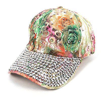 Bling Rhinestone Flower Baseball Cap (CFP9588G)  b5aa9ce6e77