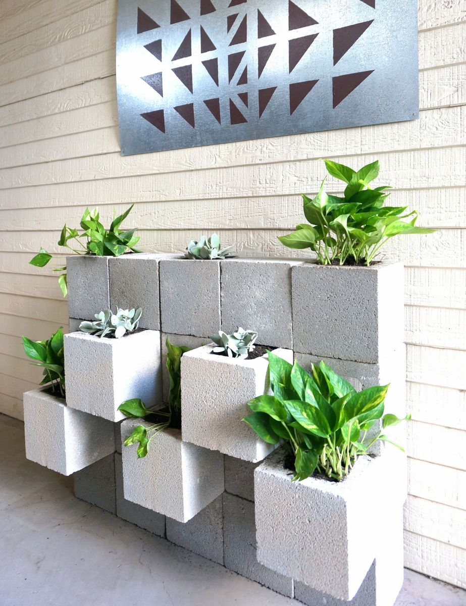 A DIY Cinder Block Succulent Wall With A Twist