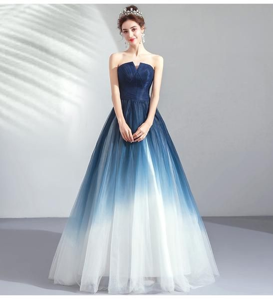 New Navy Blue Ombre Tulle Strapless Long Prom Dress Formal Evening Grad Gown Dresses LD2039 – Dress