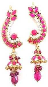 Hot Pink Bollywood Kalinda Earrings